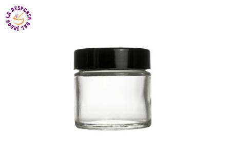 bote de cristal con tapa negra