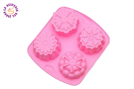 Silicone mold 4 cavities abstract flowers